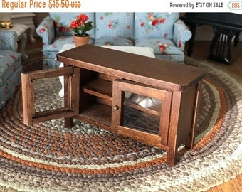 SALE Miniature TV Stand, Mini Wood Television Stand, Side Table, Dollhouse Miniature Furniture, 1:12 Scale, Clear Doors Stand With Shelves