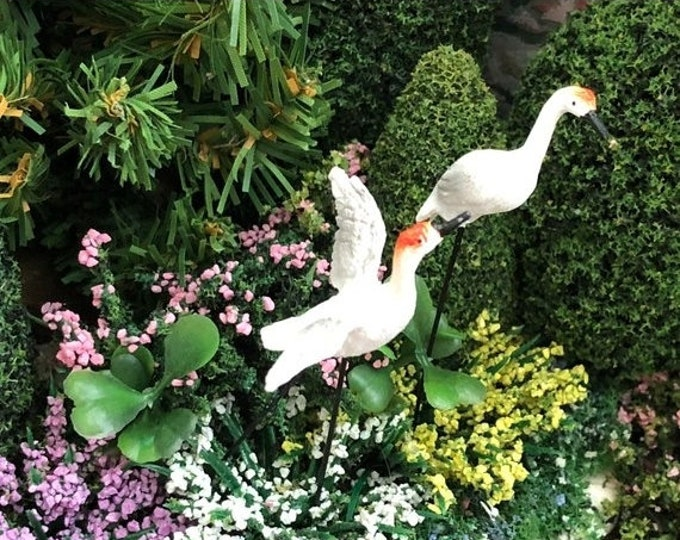 SALE Mini Cranes,  Mini Garden Picks, Set of 2, Mini Bird Picks, Fairy Garden Accessory, Miniature Home & Garden Decor, Crafts, Topper