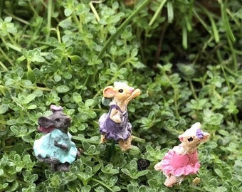 SALE Micro Mice Garden Picks, Set of 3, Tiny Girl Mice, Dressed Micro Mice, Fairy Garden Accessory, Miniature Garden Decor, Crafts, Toppers