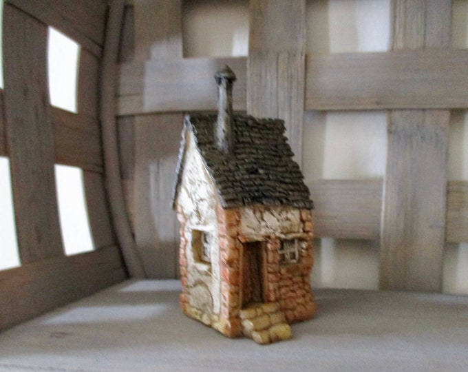 Mini House, Little House With Chimney And Stairs, Style #09, Resin House, For Fairy Garden, Decoration, Shelf Sitter, Mini House