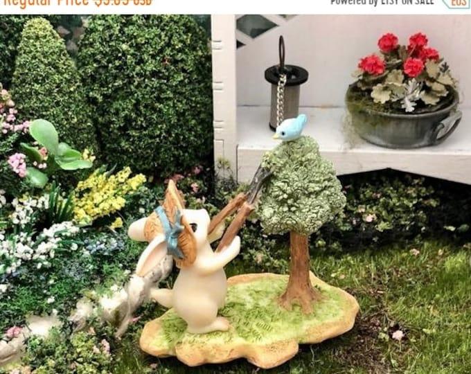 SALE Bunny and Bird Figurine, Bunny Gardener Pruning Tree Style #63, Fairy Garden Accessory, Miniature Garden Decor, Figurine