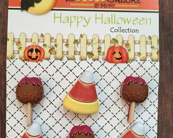 "Halloween Buttons, Candy Corn and Taffy Apple Buttons, ""No Tricks...Just Treats"" Carded Shank Back Buttons by Buttons Galore, #102"