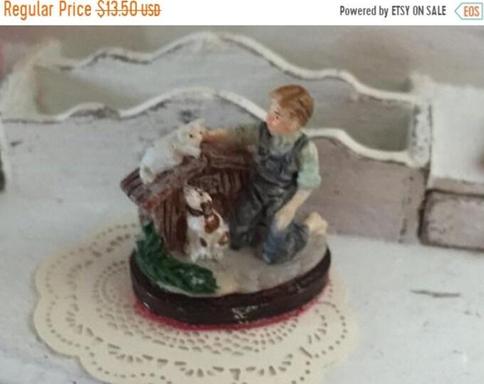 SALE Miniature Figurine, Boy With Dog & Cat Figurine, Dollhouse Miniature, 1:12 Scale, Mini Knick Knack, Decoration, Accessory, Dollhouse De