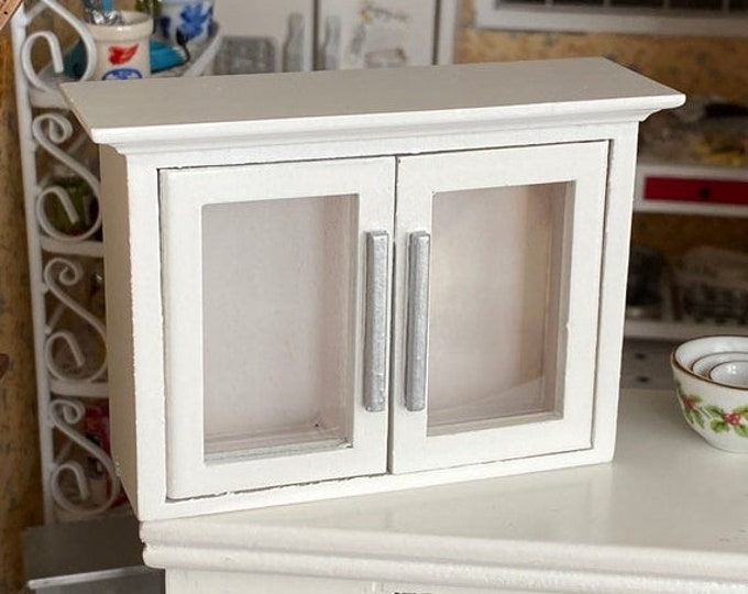 SALE Miniature Wood Kitchen Cabinet, 2 Door White Cabinet, Dollhouse Miniature, 1:12 Scale, Dollhouse Furniture, Kitchen Decor, Mini Cabinet
