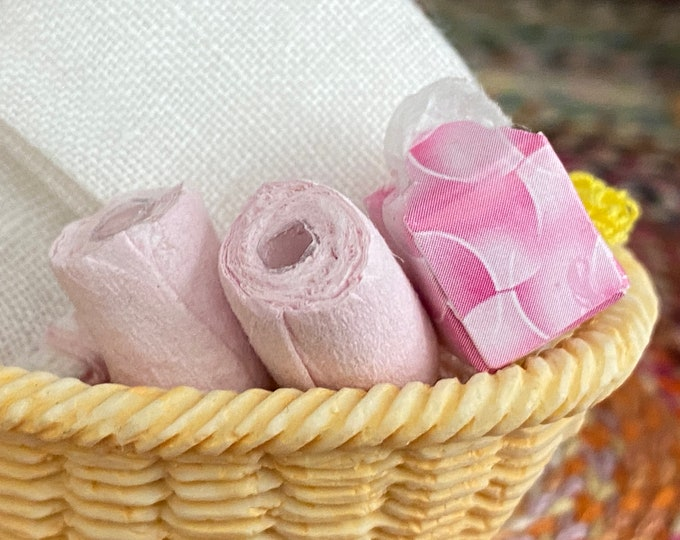 Miniature Pink Tissue Box and 2 Rolls of Toilet Tissue Paper, Dollhouse Miniatures, 1:12 Scale, Dollhouse Bathroom Decor, Accessory