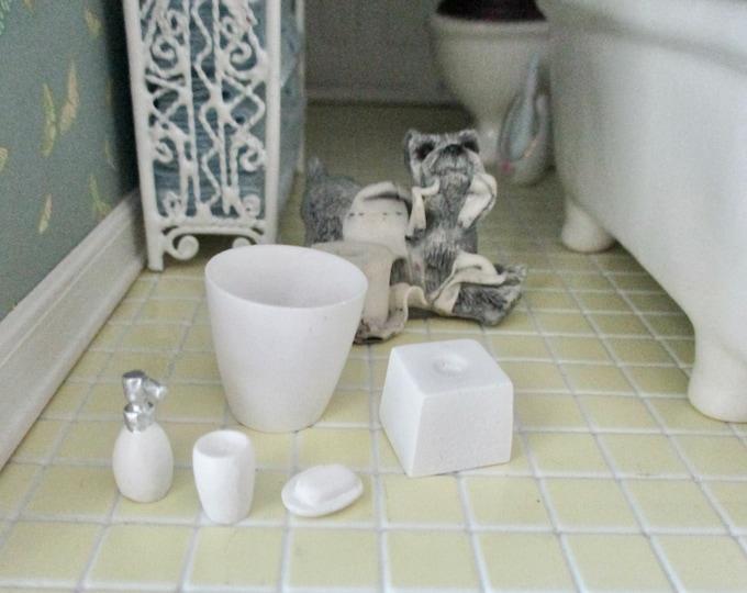 Miniature Bathroom Accessory Set, Trash Can, Tissue Holder, Soap, Lotion Bottle, 5 Piece Set, Style #87, Dollhouse Miniatures, 1:12 Scale
