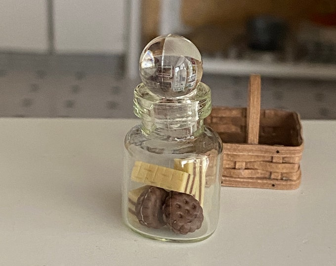 Miniature Glass Jar with Cookies and Wafers Style #03, Dollhouse Miniature, 1:12 Scale, Mini Food, Dollhouse Food, Accessory, Decor
