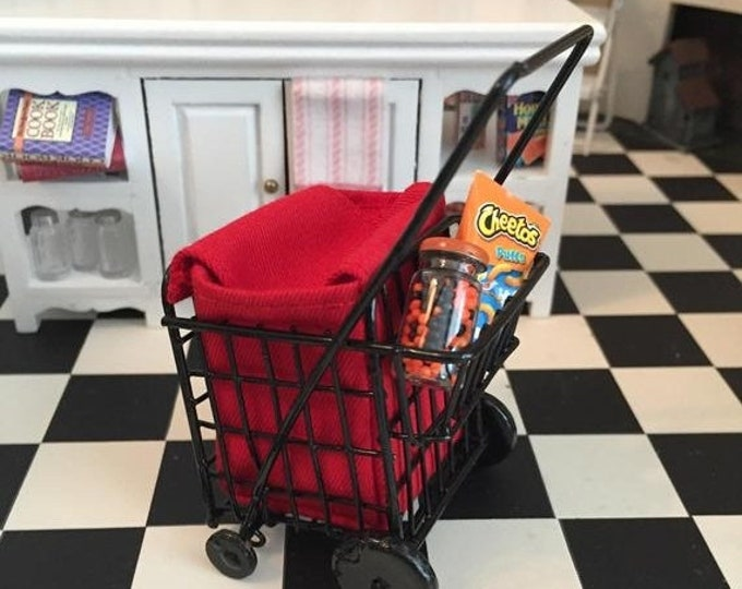 SALE Miniature Grocery Cart with Red Bag, Dollhouse Miniature, 1:12 Scale, Mini Cart With Wheels, Dollhouse Decor, Accessory, Crafts, Topper
