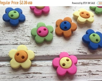 "SALE Flower Buttons, Packaged Novelty Buttons ""Hot Flowers"" #2102 by Buttons Galore, Assorted Colors, Sew Through, 2 Hole Buttons"