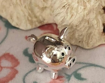 SALE Miniature Silver Piggy Bank, Dollhouse Miniature, 1:12 Scale, Dollhouse Accessory, Decor, Crafts, Topper, Embellishment