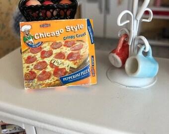 SALE Miniature Pizza, Mini Frozen Deep Dish Pizza Box, Dollhouse Miniature, 1:12 Scale, Dollhouse Accessory, Decor, Crafts, Mini Food