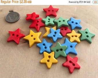 "SALE Star Buttons, Packaged Novelty Buttons by Buttons Galore ""Stars"" #4024, Includes Assorted Colors, 2 Hole Buttons, Sewing, Crafts"