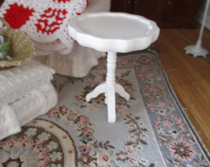 Miniature Round Table, Mini Pie Crust Side End Table, Style #03,  Dollhouse Miniature Furniture, 1:12 Scale, Miniature Table, Round Table