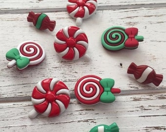 "SALE Christmas Candy Buttons, Novelty Button Package by Buttons Galore, ""Christmas Candy"" Style 4766, Shank and Flat Backs"