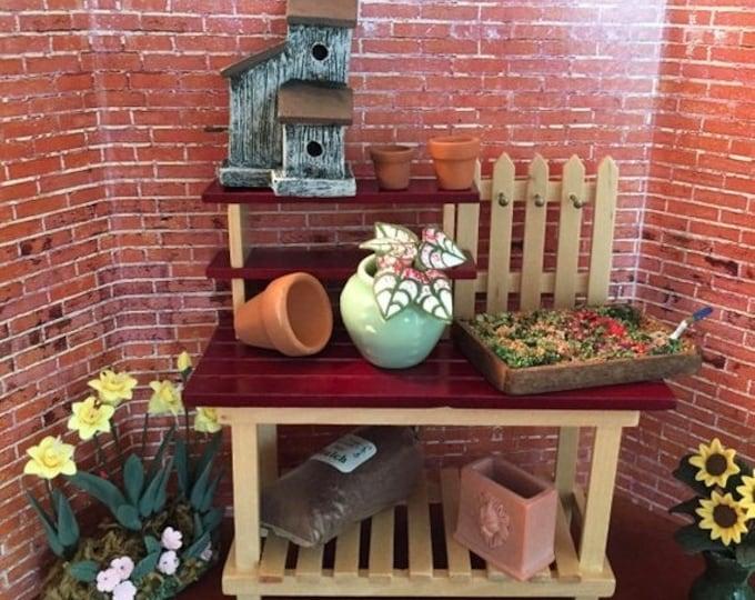 Featured listing image: SALE Miniature Garden potting Bench, Mini Wood Gardening Bench, Dollhouse Miniature, 1:12 Scale, Mini Gardening, Dollhouse Accessory, Decor