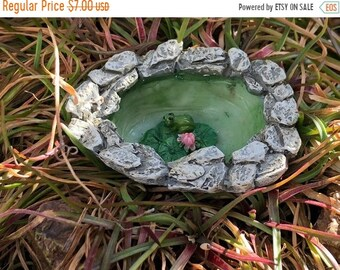SALE Micro Mini Frog Pond #35, Fairy Garden Accessory, Garden Decor, Miniature Gardening, Topper, Stone Pond with Frog