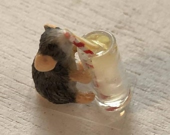 SALE Miniature Mouse Figurine, Mouse Drinking Lemonade, #088, Dollhouse Miniatures, 1:12 Scale, Dollhouse Decor, Topper, Crafts, Shelf Sitte
