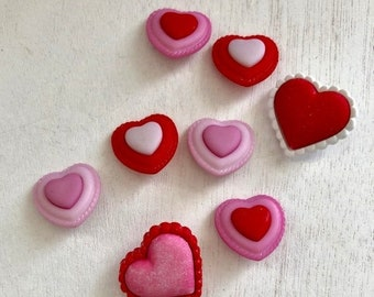 """SALE Heart Buttons, Valentine Buttons, Packaged Novelty Buttons, """"Heart to Heart"""" 4322 by Buttons Galore, Sewing, Crafting, Shank Back Butto"""