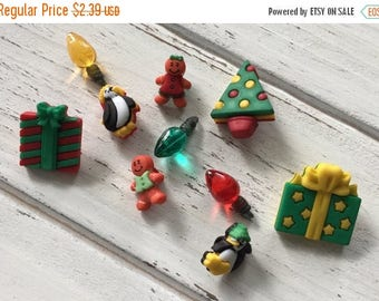 "Sale Christmas Buttons, Packaged Novelty Assortment, ""Holiday Bliss"" by Buttons Galore, Style 4778, Presents, Gingerbread, Penguins, Lights"