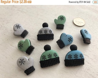 """SALE Hat and Mitten Buttons, Packaged Novelty Buttons,  """"Winter Woolies"""" #4135 by Buttons Galore, Sewing, Shank Back Buttons, Embellishments"""