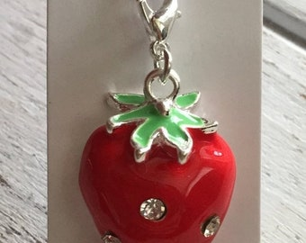 SALE Strawberry Charm with Lobster Claw Clasp