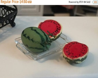 SALE Miniature Watermelon, Sliced and Whole With Clear Tray, 4 pc Set, Dollhouse Miniature, 1:12 Scale, Miniature Food, Dollhouse Food