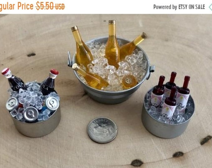 SALE Miniature Drinks on Ice in Silver Bucket, Choose Beer, Wine or Soda, Dollhouse Miniature, 1:12 Scale, Dollhouse Accessory, Decor, Craft