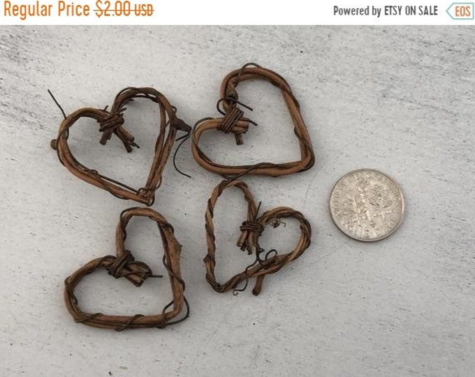 SALE Miniature Vine Hearts, Mini Heart Wreaths, Set of 4, Dollhouse Accessory, Decor, Crafts