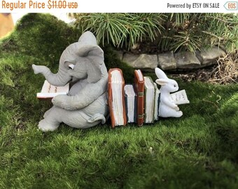 SALE Elephant and Bunny Rabbit Reading Figurine #72, Fairy Garden Accessory, Home & Garden Decor, Shelf Sitter, Topper, Gift