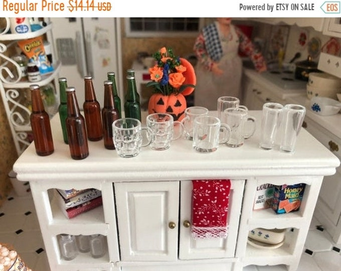 SALE Miniature Beer Bottle and Mugs Set, 16 Piece Set, Miniature Glasses, Mugs and Bottles, Dollhouse Miniatures, 1:12 Scale