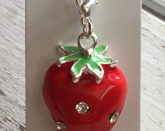 Strawberry Charm with Lobster Claw Clasp