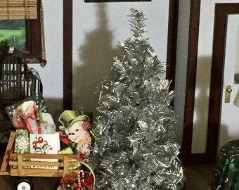 SALE Miniature Christmas Tree, 7 Inch Silver Christmas Tree, Dollhouse Miniature, 1:12 Scale, Dollhouse Holiday Decor, Tree by Dollhouse Sho