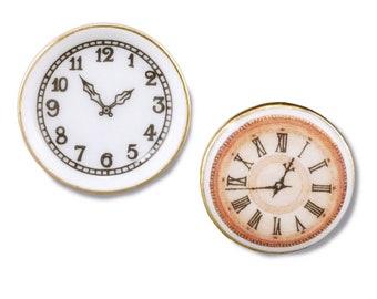 Miniature Clocks, Porcelain Wall Clocks by Reutter, Set of 2, Dollhouse Miniature, 1:12 Scale, Dollhouse Accessory, Decor, Mini Lamp