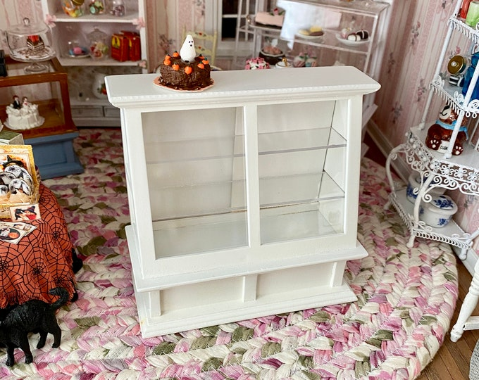 Miniature Store Display Case, Mini White Wood Cabinet Display With Shelves, Sliding Doors, Dollhouse Miniature Furniture, 1:12 Scale
