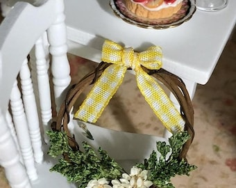 SALE Miniature Wreath, Decorated Grapevine Wreath, White Flowers, Yellow Bow, Dollhouse Miniature, 1:12 Scale, Dollhouse Decor, Accessory
