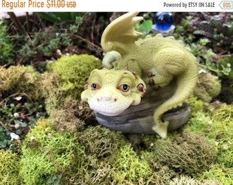 SALE Mini Dragon, Hear No Evil, Covering Ears, Green Dragon, Fairy Garden Accessory, Miniature Garden Decor, Topper, Shelf Sitter, Figurine