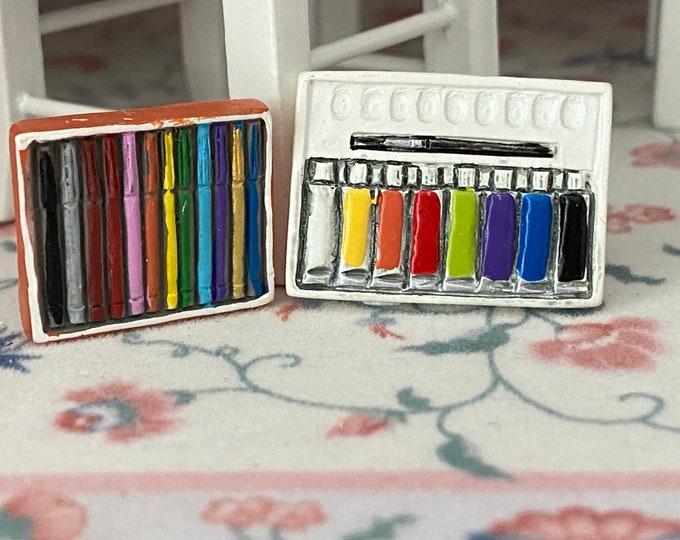Miniature Paint and Marker Set, Mini Paint Palette and Pens, 2 Piece Set, Dollhouse Miniatures, 1:12 Scale, Dollhouse Accessories, Decor