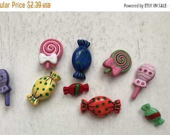 """SALE Candy Treat Buttons, Packaged Novelty Buttons,  """"Sweet Treats"""", Style 4277 by Buttons Galore, Lollipop and Wrapped Candy Buttons"""
