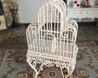 SALE Miniature White Birdcage on Stand, Hinged Door & Wing, Dollhouse Miniature, White Metal Wire Bird cage, Dollhouse Miniature, 1:12 Scale