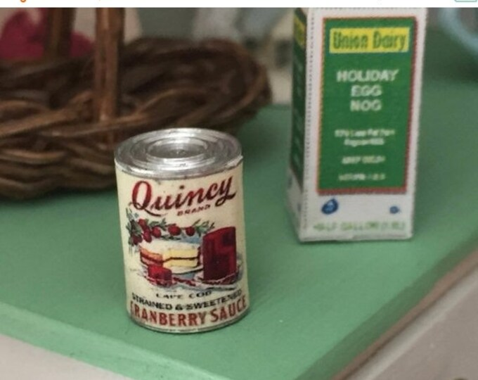 SALE Miniature Cranberry Sauce Can, Dollhouse Miniature, 1:12 Scale, Dollhouse Food, Pretend Food Can, Dollhouse Accessory, Decor, Holiday F