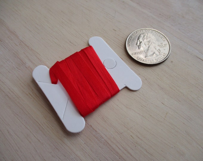 Silk Ribbon, 2 Yards, Red 100 Percent Pure Silk Ribbon, 2 Yards, 4 MM Ribbon