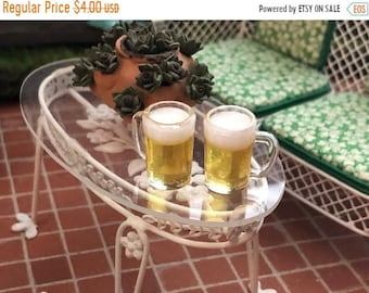 SALE Miniature Beer Glasses, Filled Beer Mugs, 2 Piece Set, Style #97, Dollhouse Miniture, 1:12 Scale, Dollhouse Accessory, Decor
