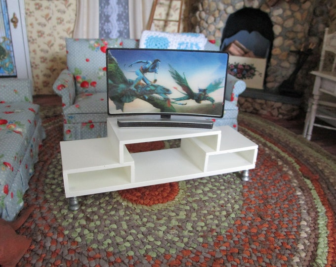 Miniature Television And White Console Set, Style #25, CLEARANCE Priced, Dollhouse Miniature, 1:12 Scale, Dollhouse Furniture