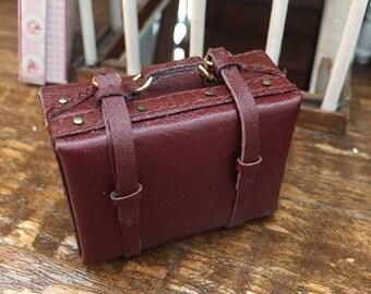 SALE Miniature Suitcase, Small Faux Leather Suitcase, Mini Luggage, Style 1492, Dollhouse Miniature, 1:12 Scale, Mini Brown Suitcase
