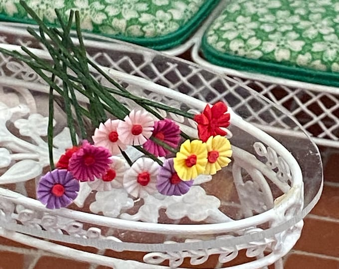 Miniature Flowers, Mini Flowers With Wire Stems, 12 Pc Set, Assorted Colors, Style #09, Dollhouse Miniature, 1:12 Scale, Mini Flowers