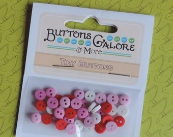 "SALE Pink Red White Mini Buttons, Packaged Buttons, 2 Hole Buttons, ""Sweetheart"" Set by Buttons Galore Style #1357, Sewing, Crafting"