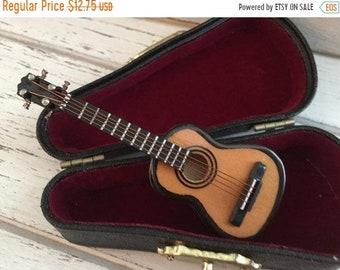 SALE Miniature Guitar with Case, Miniature Music, Mini Accessory, Decor, Mini Guitar, Instrument, 2.5 Inch Mini Guitar