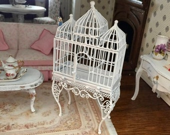 SALE Miniature Bird Cage, Large White Wire Fancy Cage With Hinged Door and Swing, Dollhouse Miniature, 1:12 Scale, Mini Cage