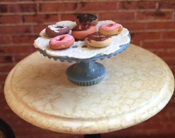 Miniature Donuts, Pretty Doughnuts on Blue Cake Stand, Dollhouse Miniature, 1:12 Scale, Dollhouse Food, Miniature Food, Dollhouse Accessory