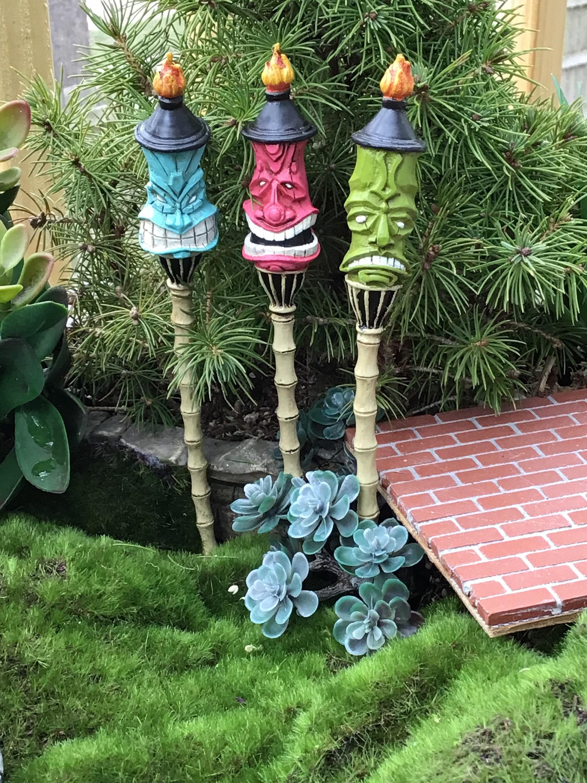 Beau SALE Mini Tiki Torch Set, Mini Garden Picks, Tiki Faces, Set Of 3, Fairy  Garden Accessory, Miniature Garden Decor, Mini Colored Tiki Torche